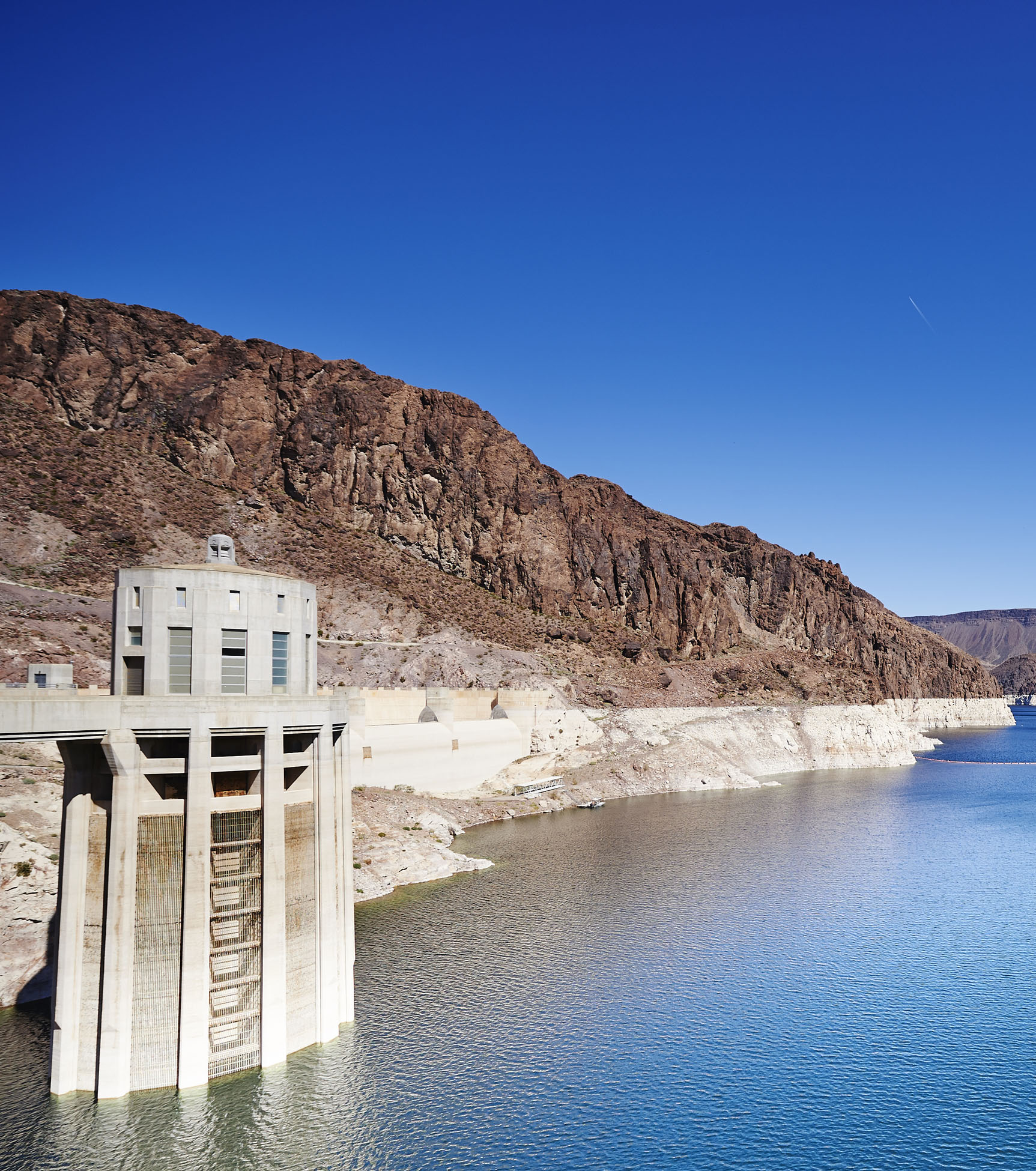 Low water levels in reservoir along Hoover Dam in American southwest.