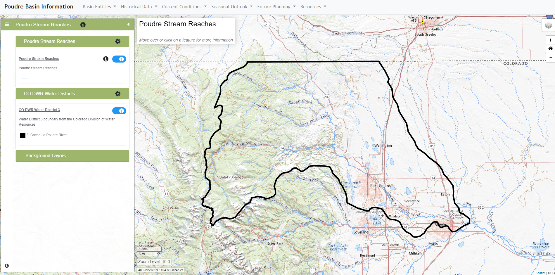 Image of Poudre Basin Map